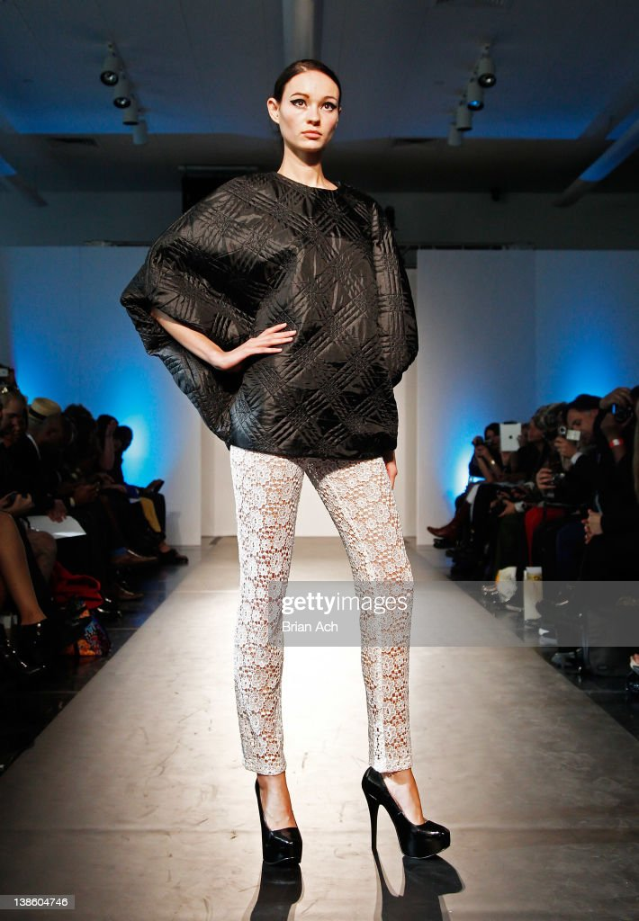 A model walks the runway at the Megla M runway show during Nolcha Fashion Week New York at the Alvin Ailey Studios on February 9, 2012 in New York City.