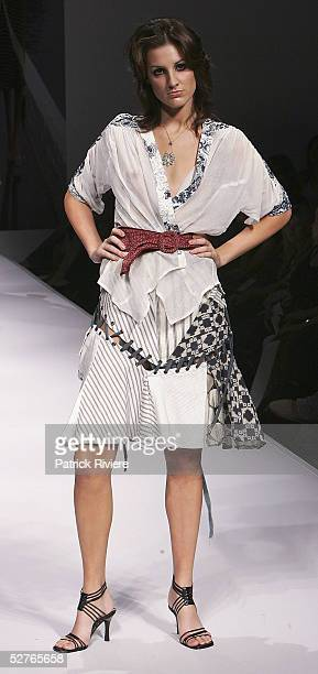 Model walks the runway at the Melissa Polynkova collection presentation part of the Sydney Tafe Fashion Design Studio at the Overseas Passenger...
