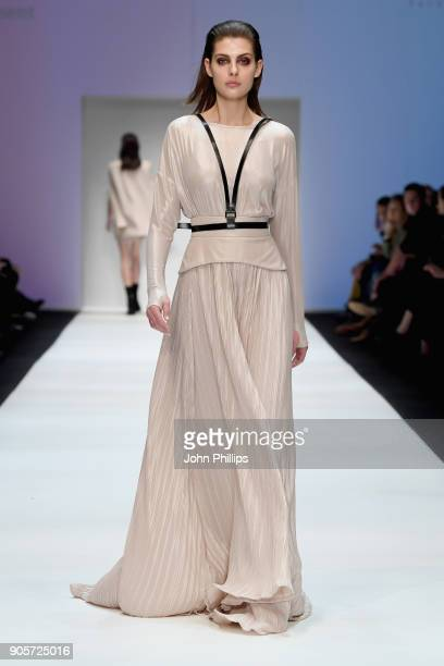 A model walks the runway at the MercedesBenz ELLE present Callisti show during the MBFW Berlin January 2018 at ewerk on January 16 2018 in Berlin...