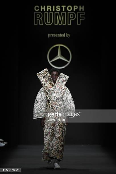 Model walks the runway at the Mercedes-Benz presents Christoph Rumpf show during the Berlin Fashion Week Spring/Summer 2020 at ewerk on July 01, 2019...
