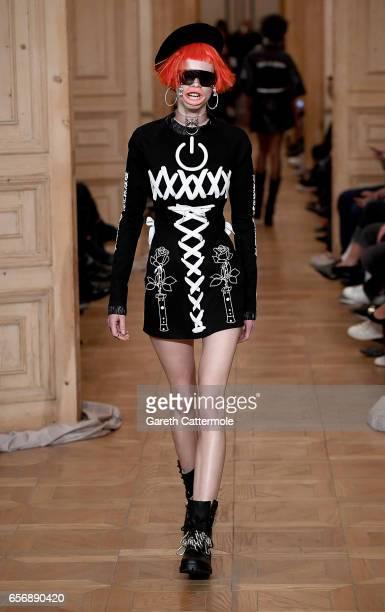 A model walks the runway at the MercedesBenz Presents DB Berdan show during MercedesBenz Istanbul Fashion Week March 2017 at Grand Pera on March 23...