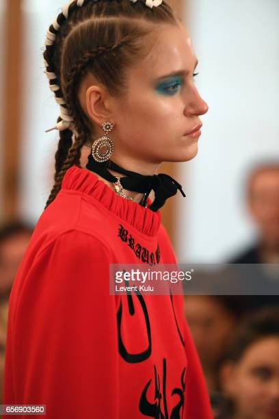 A model walks the runway at the MercedesBenz Presents DB Berdan show during MercedesBenz Istanbul Fashion Week March 2017 at Grand Pera on March 23...