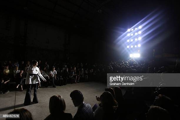 A model walks the runway at the MercedesBenz Presents Ellery show at MercedesBenz Fashion Week Australia 2015 at Carriageworks on April 12 2015 in...