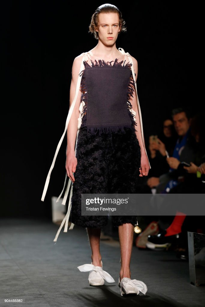 A model walks the runway at the Miaoran show during Milan Men's Fashion Week Fall/Winter 2018/19 on January 13, 2018 in Milan, Italy.