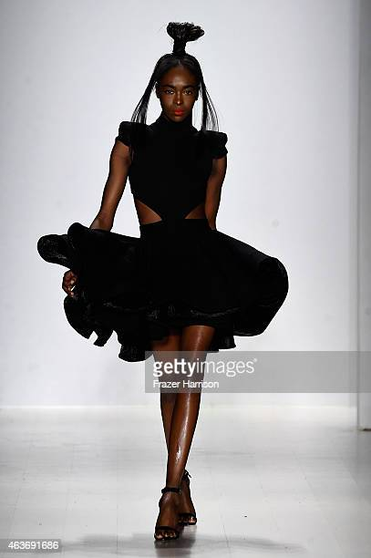 Model walks the runway at the Michael Costello fashion show during Mercedes-Benz Fashion Week Fall 2015Salon at Lincoln Center on February 17, 2015...
