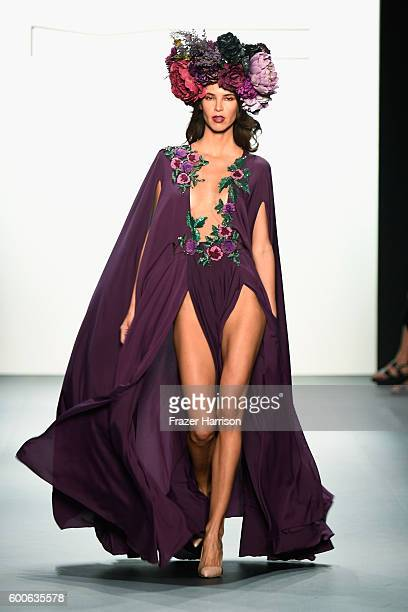 A model walks the runway at the Michael Costello fashion show during New York Fashion Week The Shows September 2016 at The Dock Skylight at Moynihan...