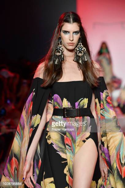 A model walks the runway at the Michael Costello show during New York Fashion Week The Shows at Gallery II at Spring Studios on September 7 2018 in...