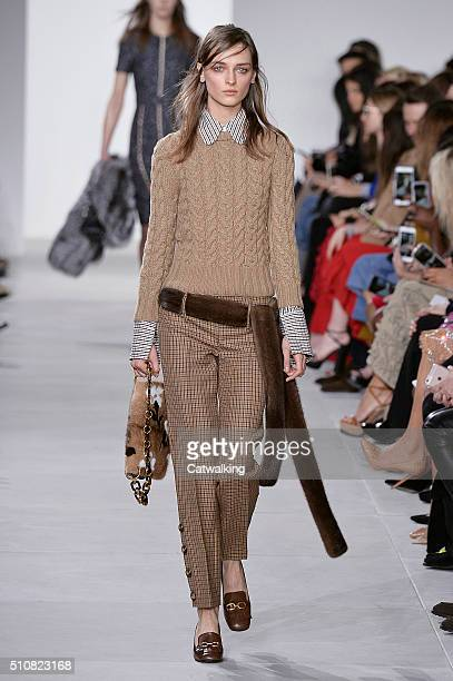 A model walks the runway at the Michael Kors Autumn Winter 2016 fashion show during New York Fashion Week on February 17 2016 in New York United...