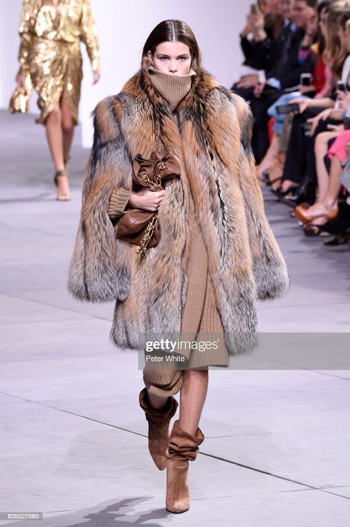 A model walks the runway at the Michael Kors Collection Fall 2017 show at Spring Studios on at Spring Studios on February 15, 2017 in New York City.