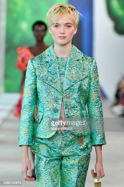 A model walks the runway at the Michael Kors Ready to Wear Spring/Summer 2019 fashion show during New York Fashion Week on September 12 2018 in New...
