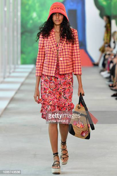 Model walks the runway at the Michael Kors Ready to Wear Spring/Summer 2019 fashion show during New York Fashion Week on September 12, 2018 in New...