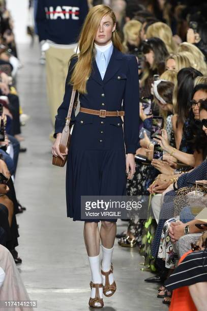 Model walks the runway at the Michael Kors Ready to Wear Spring/Summer 2020 fashion show during New York Fashion Week on September 11, 2019 in New...