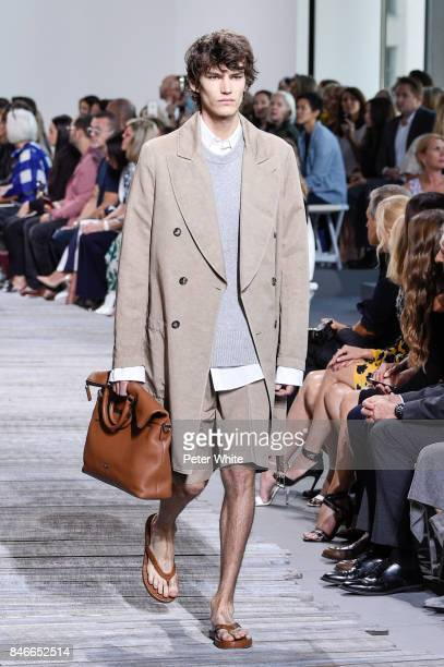 Model walks the runway at the Michael Kors Ready to Wear Spring/Summer 2018 fashion show during New York Fashion Week at Spring Studios on September...