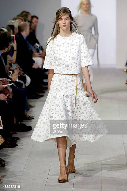 A model walks the runway at the Michael Kors Spring 2016 Runway Show during New York Fashion Week The Shows at Spring Studios on September 16 2015 in...