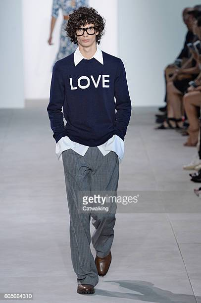 Model walks the runway at the Michael Kors Spring Summer 2017 fashion show during New York Fashion Week on September 14, 2016 in New York, United...