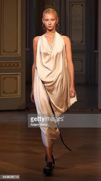 A model walks the runway at the Michael Sontag show during the MercedesBenz Fashion Week Berlin Spring/Summer 2017 at Palais am Festungsgraben on...