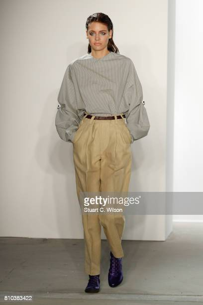 A model walks the runway at the Michael Sontag show during the MercedesBenz Fashion Week Berlin Spring/Summer 2018 at Kaufhaus Jandorf on July 7 2017...