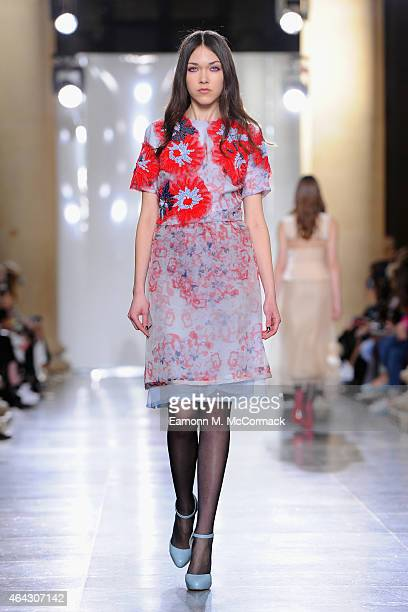 Model walks the runway at the Michael van der Ham show during London Fashion Week Fall/Winter 2015/16 at TopShop Show Space on February 24, 2015 in...
