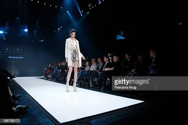 A model walks the runway at the 'Michalsky Style Nite Show MercesdesBenz Fashion Week Autumn/Winter 2013/14' at Tempodrom on January 18 2013 in...