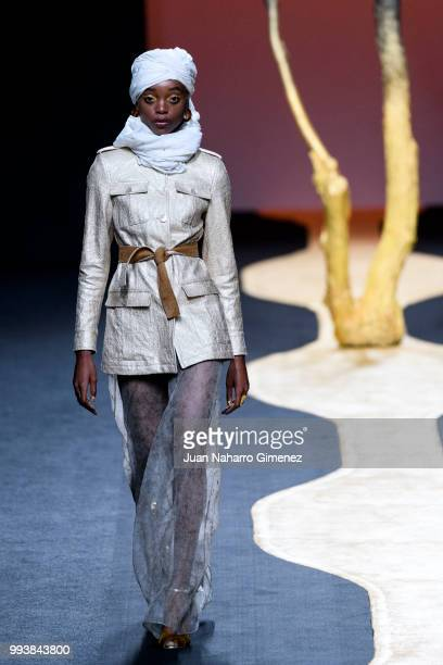 A model walks the runway at the Miguel Marinero show during the MercedesBenz Fashion Week Madrid Spring/Summer 2019 at IFEMA on July 8 2018 in Madrid...