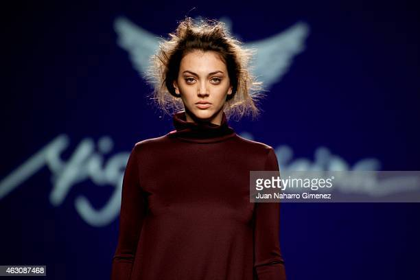 A model walks the runway at the Miguel Vieira show during Madrid Fashion Week Fall/Winter 2015/16 at Ifema on February 9 2015 in Madrid Spain
