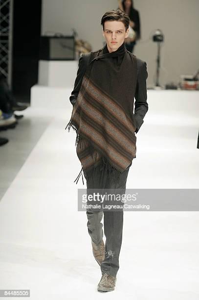 A model walks the runway at the Miharayasuhiro fashion show during Paris Fashion Week Menswear Autumn/Winter 2009 on January 24 2009 in Paris France