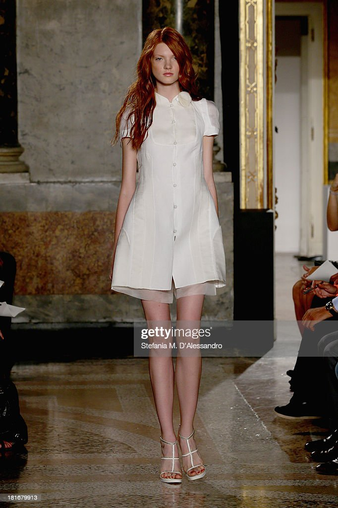 A model walks the runway at the Mila Schon show as a part of Milan Fashion Week Womenswear Spring/Summer 2014 at on September 23, 2013 in Milan, Italy.