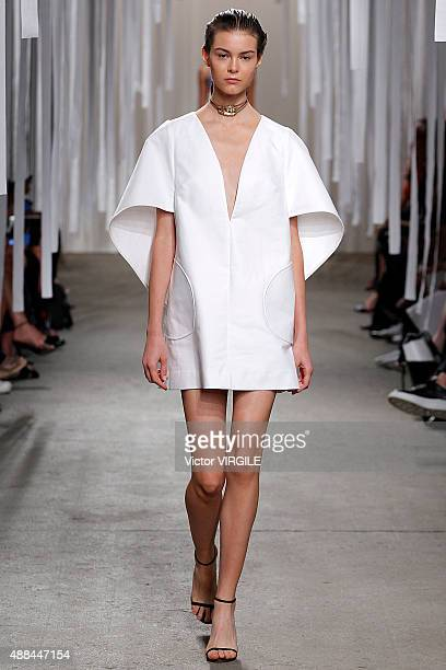 Model walks the runway at the Milly By Michelle Smith Spring Summer 2016 fashion show during New York Fashion Week on September 15, 2015 in New York...
