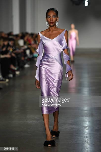 A model walks the runway at the Mimi Wade show during London Fashion Week February 2020 at The Truman Brewery on February 15 2020 in London England