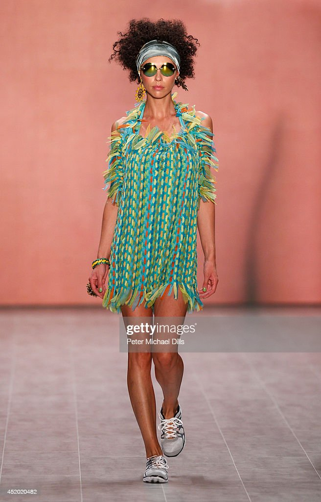 A model walks the runway at the Miranda Konstantinidou show during the Mercedes-Benz Fashion Week Spring/Summer 2015 at Erika Hess Eisstadion on July 11, 2014 in Berlin, Germany.