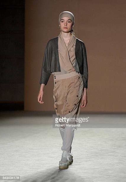 A model walks the runway at the Miriam Ponsa show during the Barcelona 080 Fashion Week Spring/Summer 2017 at the INFEC on June 28 2016 in Barcelona...