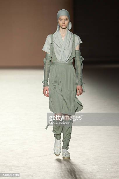A model walks the runway at the Miriam Ponsa show during the Barcelona 080 Fashion Week Spring/Summer 2017 at the INEFC Institut Nacional de Educacio...