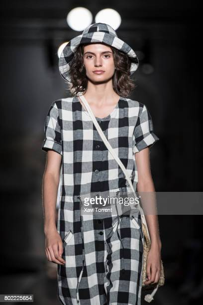 A model walks the runway at the Miriam Ponsa show during the Barcelona 080 Fashion Week on June 27 2017 in Barcelona Spain