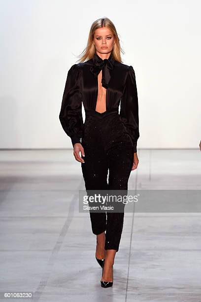 A model walks the runway at the Misha Collection during New York Fashion Week The Shows September 2016 at The Gallery Skylight at Clarkson Sq on...