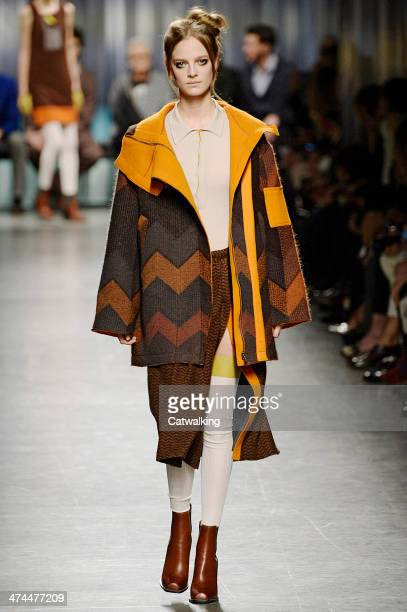 A model walks the runway at the Missoni Autumn Winter 2014 fashion show during Milan Fashion Week on February 23 2014 in Milan Italy