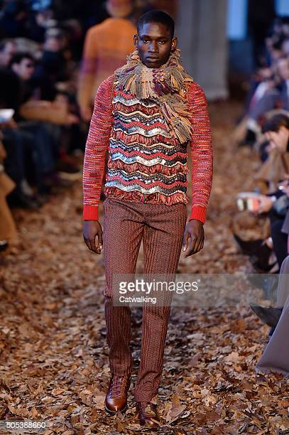 A model walks the runway at the Missoni Autumn Winter 2016 fashion show during Milan Menswear Fashion Week on January 17 2016 in Milan Italy