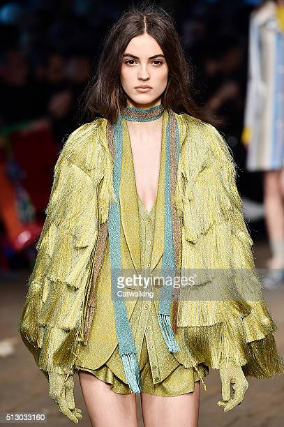 A model walks the runway at the Missoni Autumn Winter 2016 fashion show during Milan Fashion Week on February 28 2016 in Milan Italy