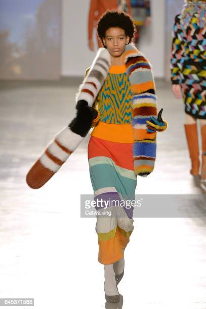 Model walks the runway at the Missoni Autumn Winter 2017 fashion show during Milan Fashion Week on February 25, 2017 in Milan, Italy.