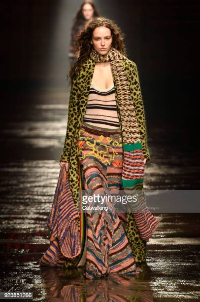 A model walks the runway at the Missoni Autumn Winter 2018 fashion show during Milan Fashion Week on February 24 2018 in Milan Italy