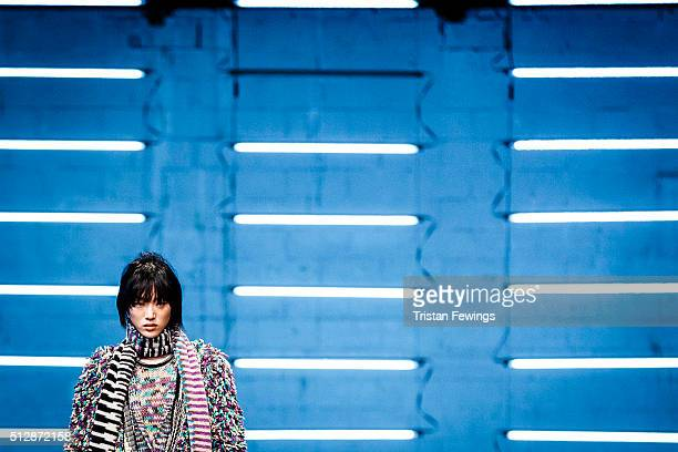 Model walks the runway at the Missoni fashion show during Milan Fashion Week Fall/Winter 2016/17 on February 28, 2016 in Milan, Italy.
