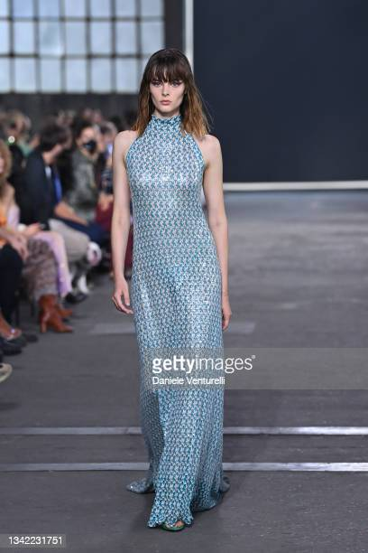 Model walks the runway at the Missoni fashion show during the Milan Fashion Week - Spring / Summer 2022 on September 24, 2021 in Milan, Italy.