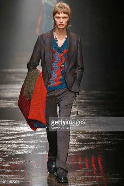A model walks the runway at the Missoni Ready to Wear Fall/Winter 20182019 fashion show during Milan Fashion Week Fall/Winter 2018/19 on February 24...