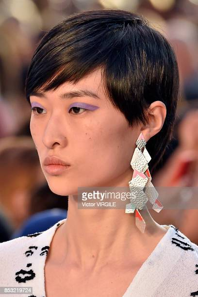 A model walks the runway at the Missoni Ready to Wear Spring/Summer 2018 fashion show during Milan Fashion Week Spring/Summer 2018 on September 23...