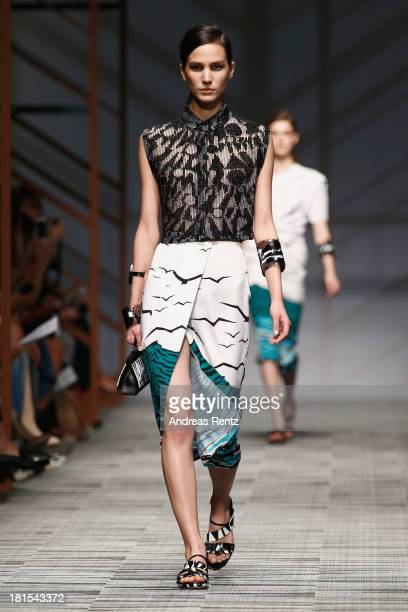 A model walks the runway at the Missoni show as part of Milan Fashion Week Womenswear Spring/Summer 2014 at on September 22 2013 in Milan Italy