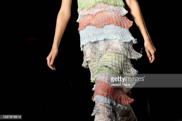 Model walks the runway at the Missoni show during Milan Fashion Week Spring/Summer 2019 on September 22, 2018 in Milan, Italy.