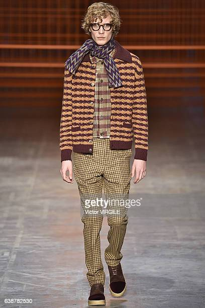 A model walks the runway at the Missoni show during Milan Men's Fashion Week Fall/Winter 2017/18 on January 15 2017 in Milan Italy