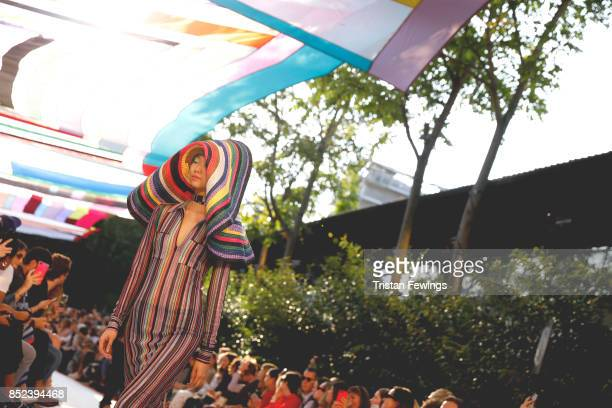Model walks the runway at the Missoni show during the Milan Fashion Week Spring/Summer 2018 on September 23, 2017 in Milan, Italy.