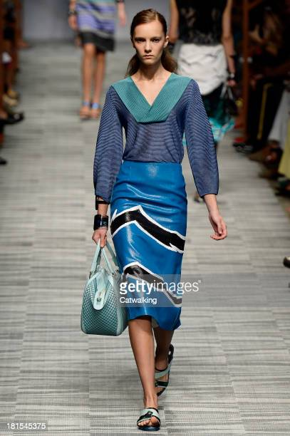 Model walks the runway at the Missoni Spring Summer 2014 fashion show during Milan Fashion Week on September 22, 2013 in Milan, Italy.