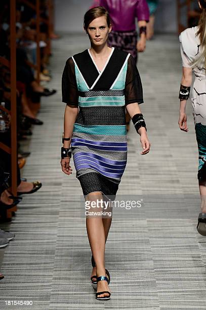 A model walks the runway at the Missoni Spring Summer 2014 fashion show during Milan Fashion Week on September 22 2013 in Milan Italy