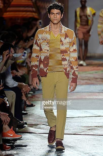 Model walks the runway at the Missoni Spring Summer 2015 fashion show during Milan Menswear Fashion Week on June 22, 2014 in Milan, Italy.
